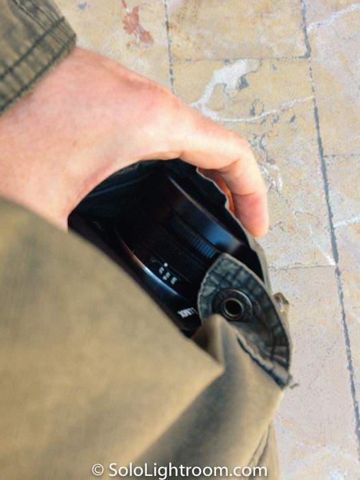 Prestaciones de una cámara profesional en un bolsillo amplio de chaqueta.
