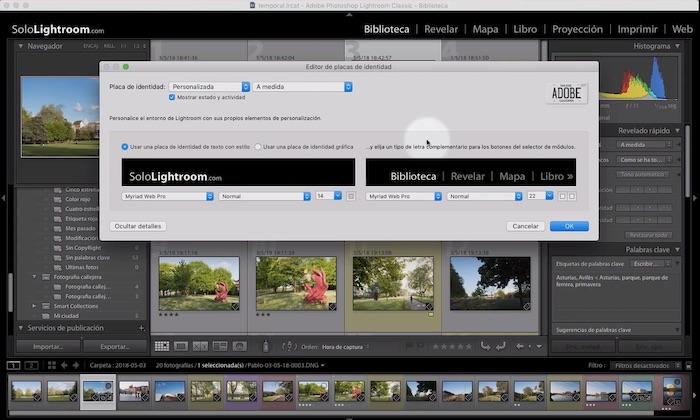 Curso de Lightroom Classic – Capítulo 21: Módulo biblioteca: configurar la tira de fotografías, la placa de identidad y el texto de los módulos
