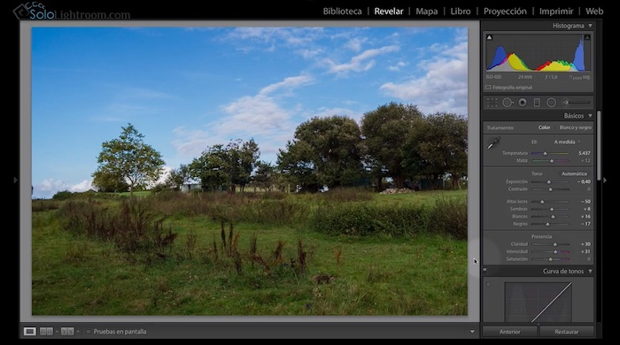 presencia en Lightroom